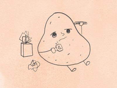 Mr. Potato has it all...sick, cold and flu! design illustration graphic design adobe