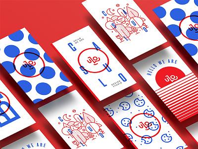 Open to Business! business card business brand red blue agency 2d branding vector design logo illustration