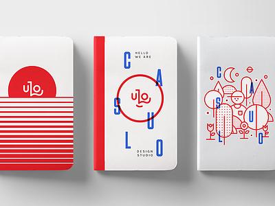Notebooks blue red stationary flat character illustrations branding notebooks