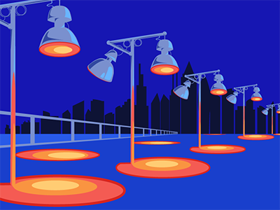 Streetlamps cell-shaded vector illustration perspective drawing streetlamp illustrator blue and red red and blue vector