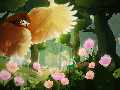 A little girl's wonderful adventure series-owl wonderful prince illustration green girl owl adventure