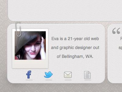 Portfolio bio preview web portfolio icons bio polaroid paperclip helvetica