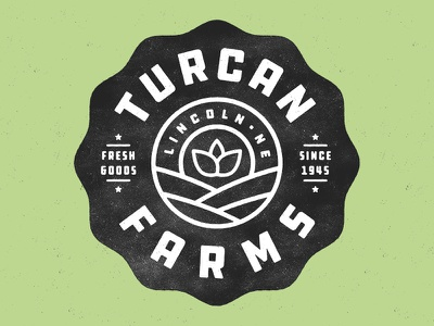 Turcan Farms texture plants logo grit fresh farming distressed branding