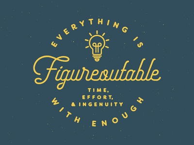 Everything Is Figureoutable wallpaper background desktop slogan ingenuity effort light bulb distress texture typography line art
