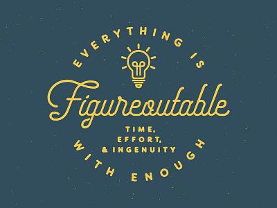 Everything Is Figureoutable wallpaper background desktop slogan ingenuity effort light bulb distress texture typography line art