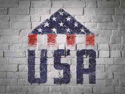 USA Folded Flag paint texture cracked destroyed distressed vintage eroded flag independence stripes stars america