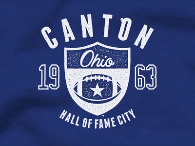 Football Hall of Fame stamp vintage printing t-shirt screen print texture distressed canton ohio 1963 sports football
