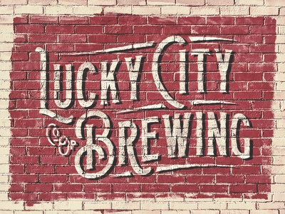 Local Co-Op Brewery Mural Exploration typography painted north carolina branding vintage lettering signage brewery lucky beer