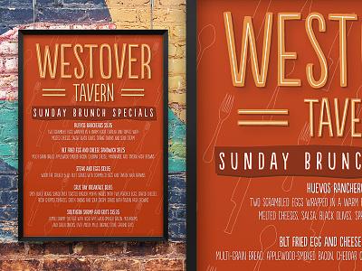 Westover Tavern Menu branding menu lettering spoons knives forks tavern restaurant kitchen pattern