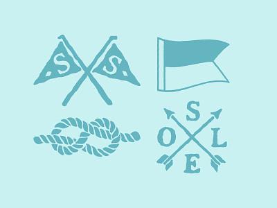 SS Nautical Sketches arrow rope flag boat ocean apparel water branding sketch blue coastal nautical