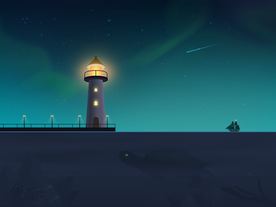 Lighthouse night photoshop 海 art illustration 插画
