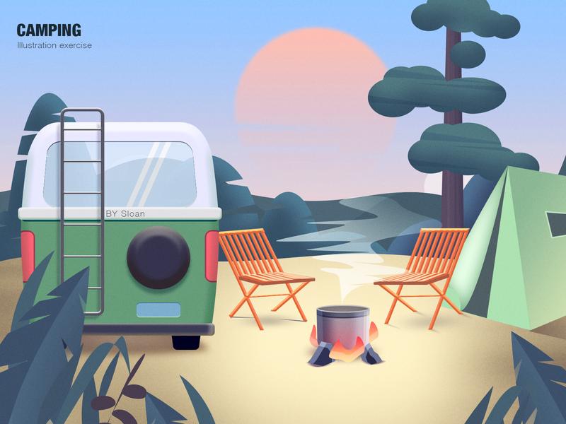 Camping 插画 art illustration photoshop