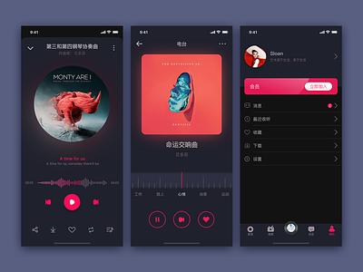 Dark Mode app sketch ui design music