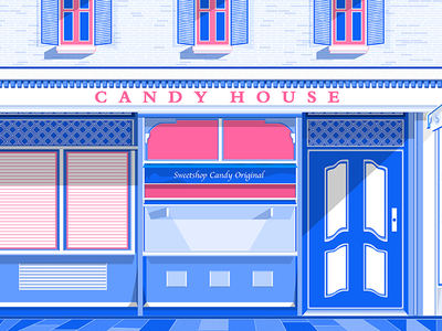 Candy House illustration blue pink candy house
