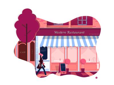 Western Restaurant angle visual house autumn sale illustration restaurant