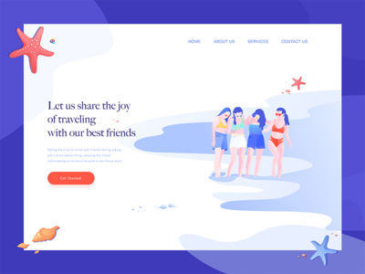 Landing page starfish seaside purple character illustration travel page landing web