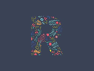 Floral R illustrated r letter r leaves floral r colorful san serif pattern floral pattern letter multi-colored logo