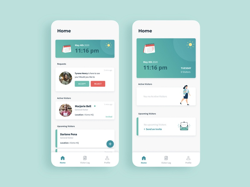 Visitor Management App - Home Screen mobile ui mobile app ux flat app web icon minimal illustration ui design