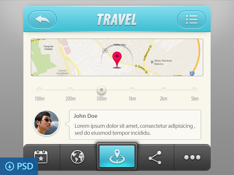 Travel App UI Elements - PSD Freebie  ios app ui psd free map icon blue grey travel chat