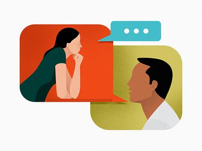 chatting flatcolors minimalistic illustraion digital