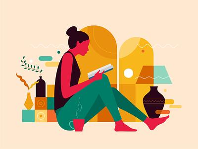 Reader digital illustraion vector minimalistic