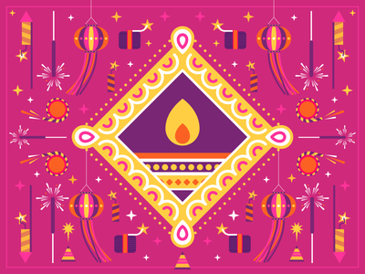 Diwali celebration flatcolors illustration vector indian festival diwali