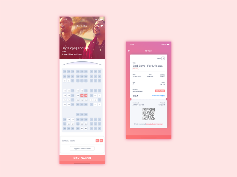 Booking Application ux design application movie booking apps mobile illustration phone ios android clean ux