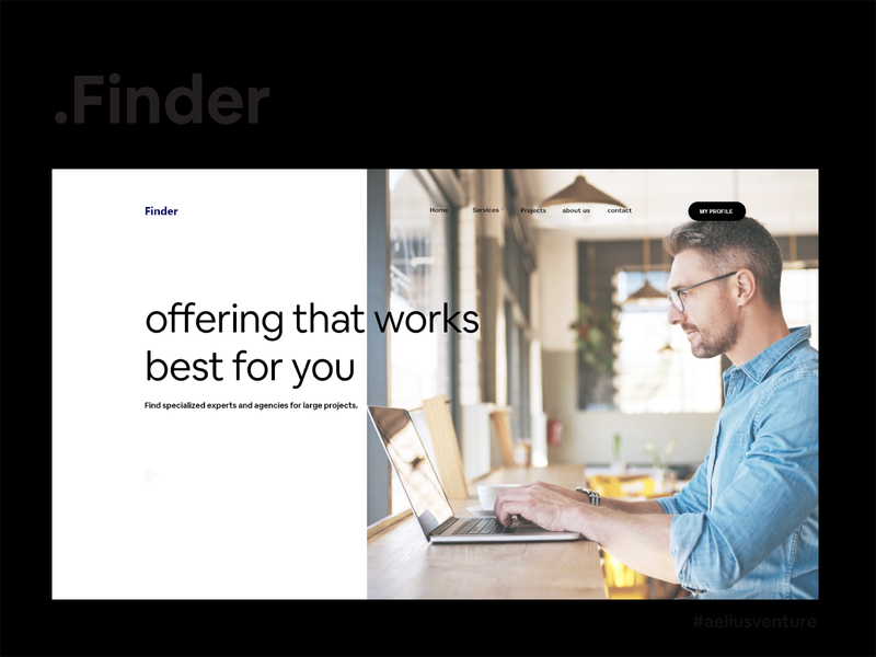 Finder Landing Page aeliusventure typography app startup illistration clean design web ux