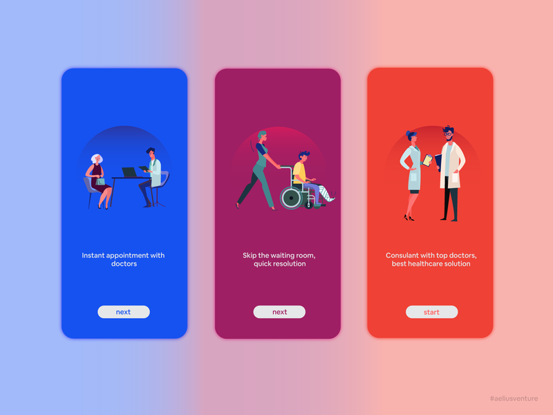 Walkthrough Screen - Doctor App development consultant doctor iphone ios android mobile design application ui ux