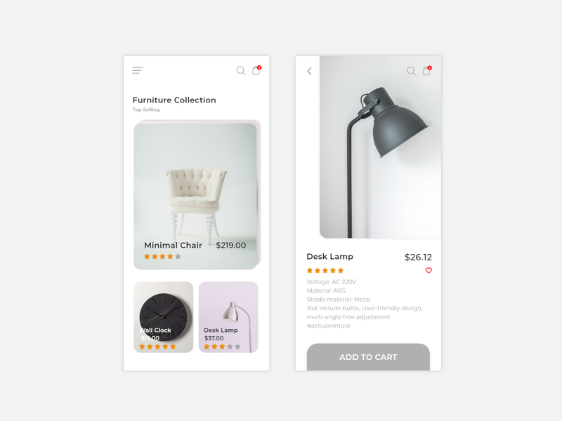 eCommerce Mobile App shop furniture cart iphone design mobile clean ux app ecommerce