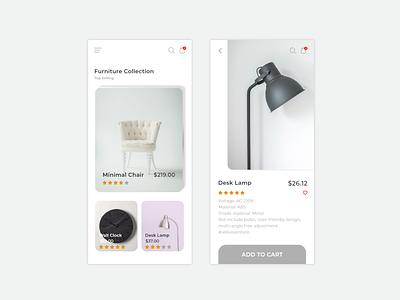 eCommerce Mobile App shop furniture cart iphone design mobile clean ux app ecommerce
