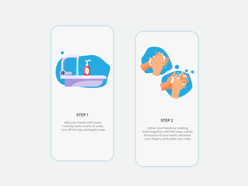 Walkthrough Screen Handwash aeliusventure app illustrations mobile app development android iphone handwash ux design clean ux
