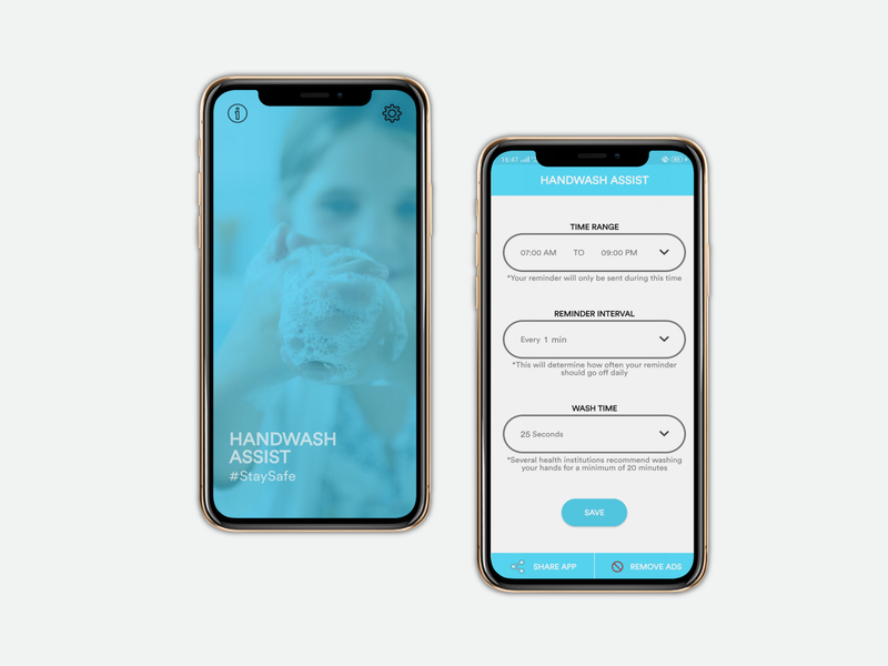 Reminder App - Design and Development reminder handwash illstration designer clean android mobile app development design covid19