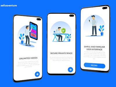 Walkthrough Screen for app illustration application mobile vector startup mobile design design blue clean iphone app screen walkthrough
