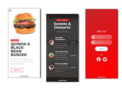 Login and Food Details Screens mobile iphone ux ui food login clean application