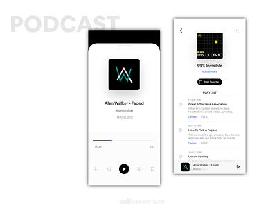 Podcast Music - Concept vector graphics idea music podcast clean ui design application ux