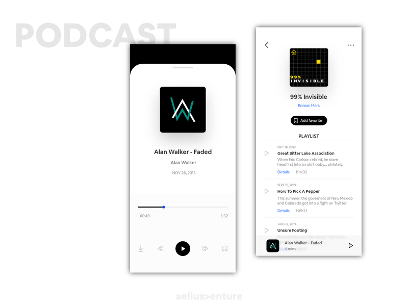 Podcast Music - Concept vector graphics idea music podcast clean ui design application ux