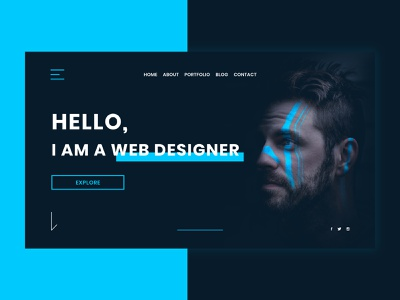 Web Designer Website Concept web design dark ui minimalism clean design clean portfolio web designer blue dark modern clean ui minimal creative concept web ux ui website design webdesign