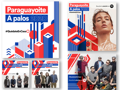 Visual Graphics for Custom Playlist on Spotify paraguay concept spotify concept music playlist blue red patterned visual graphic uiux ui spotify promo music
