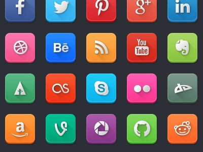 Modern Social Media Icons free freebie social media icons vector psd