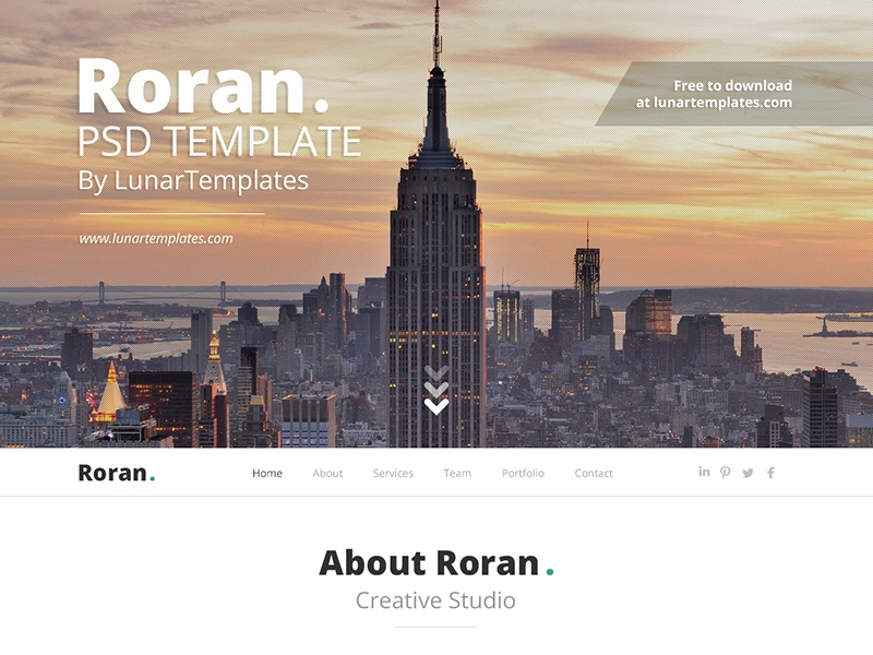 Roran, the free One Page PSD Website Template freebie website template psd template free