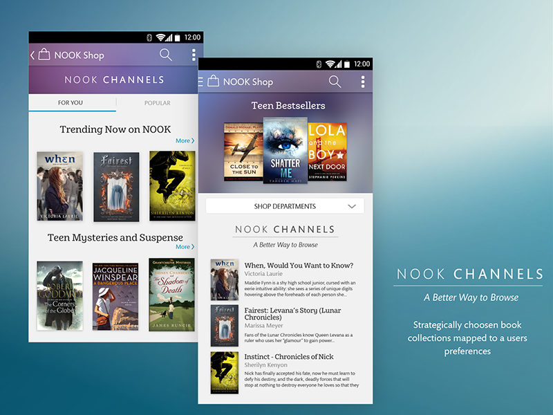 Nook Channels books shop ios android mobile