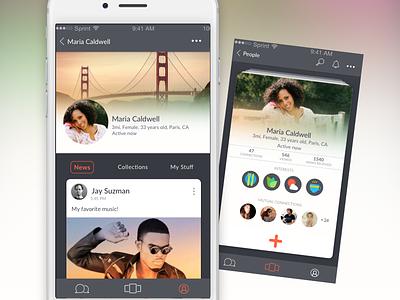 Discover People profile profile cards data mobile