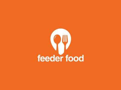 Feeder Food Logo location pin orange delivery service visual identity logo delivery