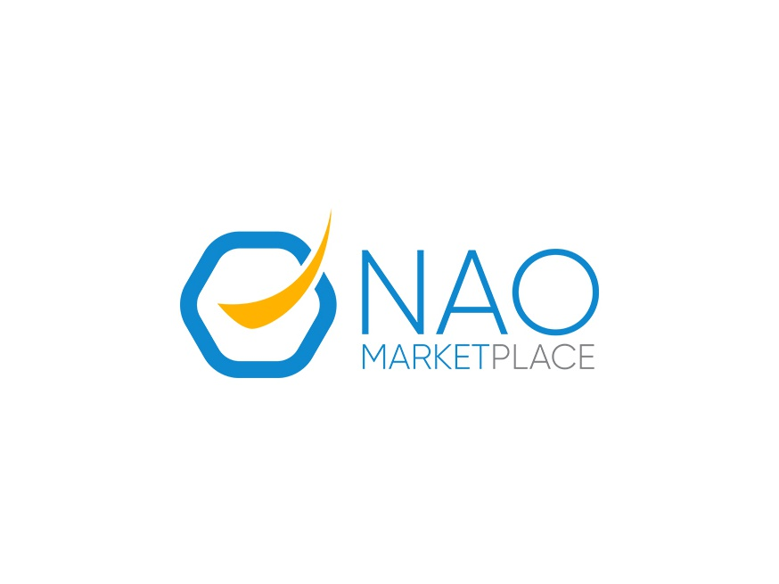Nao marketplace ecommerce design blue branding logo design minimalistic visual identity logo