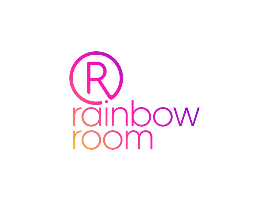 Rainbow neon light gradient colorful rainbow signage neon logo design minimalistic logo