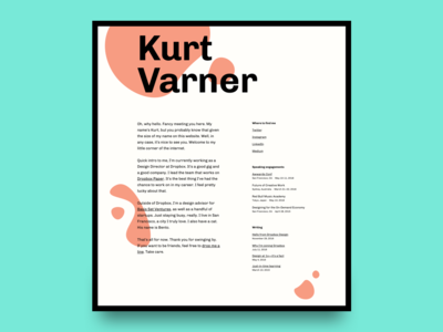 kurtvarner.com big text big typography website design orange illustration clean minimal one page onepage single page website personal page landing page green peach white black typography type shapes