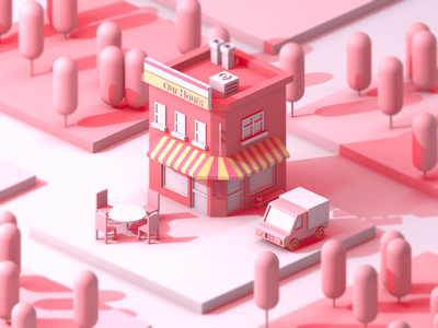 our hours light and shadow pink city design clean c4d