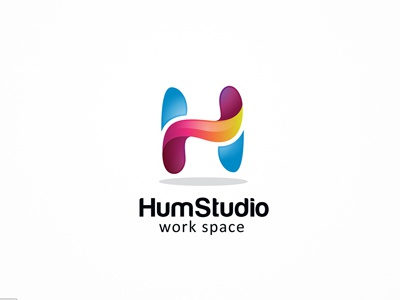 Hum Studio h logo broadcast company colorful creative media digital app entertainment fashion h letter multimedia apps studio video web solutions
