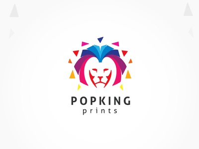 Colorful Lion King Logo colorful logo pixel art designer king lion design print